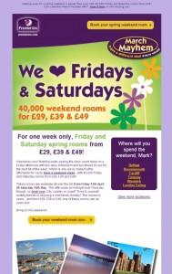 Premier Inn weekend email